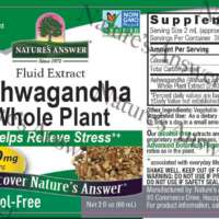 Ashwagandha - Whole Plant label